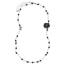 Chanel Spring Black Enameled Faux Pearl & Crystal 'CC' Camellia Necklace