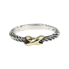 David Yurman Sterling Silver & 14K Yellow Gold X Cable Ring Size 6