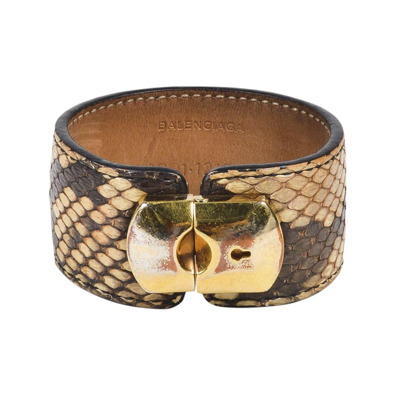 "Image of ""Balenciaga Gold Tone Hardware & Brown Beige Python Leather Cuff"""