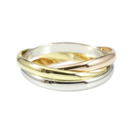 Cartier Trinity 18K White, Yellow & Rose Gold Ring Size 5.5