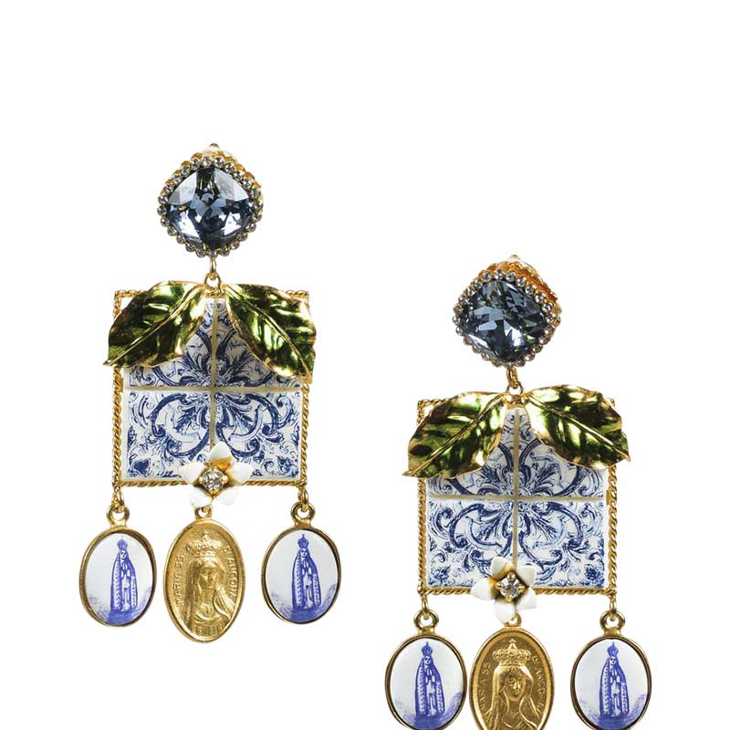 "Image of ""Dolce & Gabbana Gold Tone Hardware with Blue Multicolor Crystal &"""