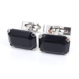 S.T. Dupont Silver Tone Hardware Colored Black Stones Cufflinks