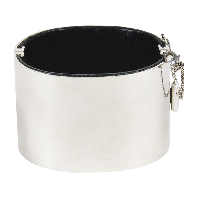 "Image of ""Celine Silver Tone Hardware & Black Leather Chain Accented Hinged"""