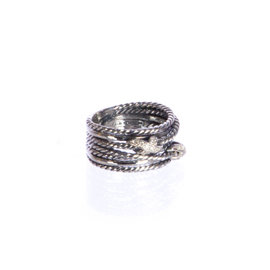 David Yurman 925 Sterling Silver with 0.09ct Diamond Double X Crossover Ring Size 8