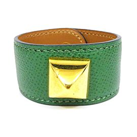 Hermes Medor Courchevel Leather Thick Bangle Bracelet