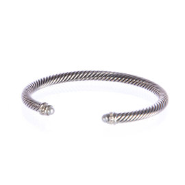 David Yurman 925 Sterling Silver with 0.07ct. Diamond & Pearl Cable Classics Bracelet