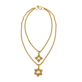 Vintage Chanel Gold Tone Hardware & Faux Pearl Pendant Chain Link Necklace