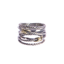 David Yurman 925 Sterling Silver & 18K Yellow Gold Double X Crossover Ring Size 6.5
