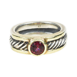 David Yurman 925 Sterling Silver 14K Yellow Gold Garnet Cable Ring Size 5
