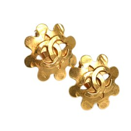 Chanel Gold Tone Metal COCO Clip-On Earrings
