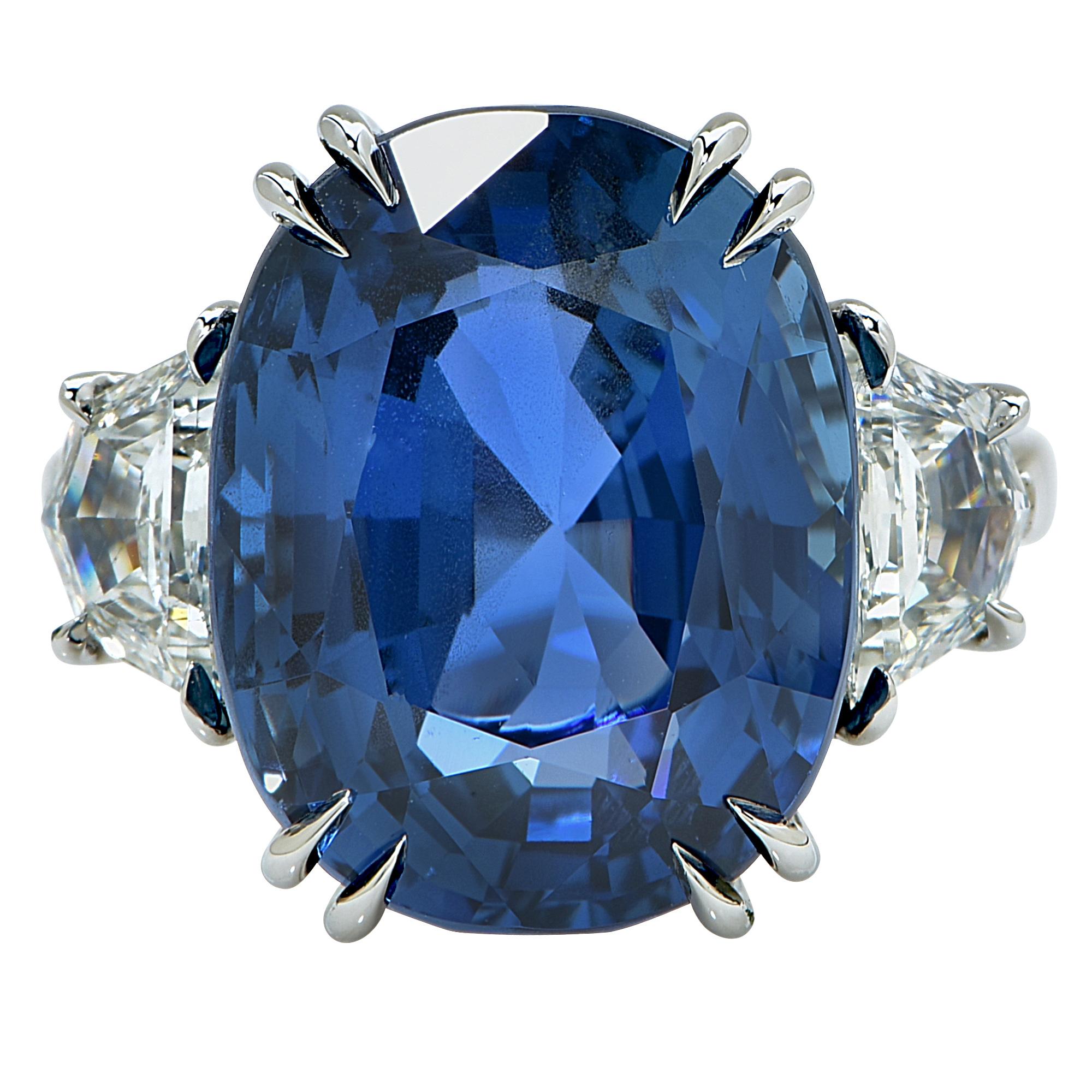 "Image of ""Platinum 20.42ct Unheated Burma Sapphire & Diamonds Ring Size 6.5"""