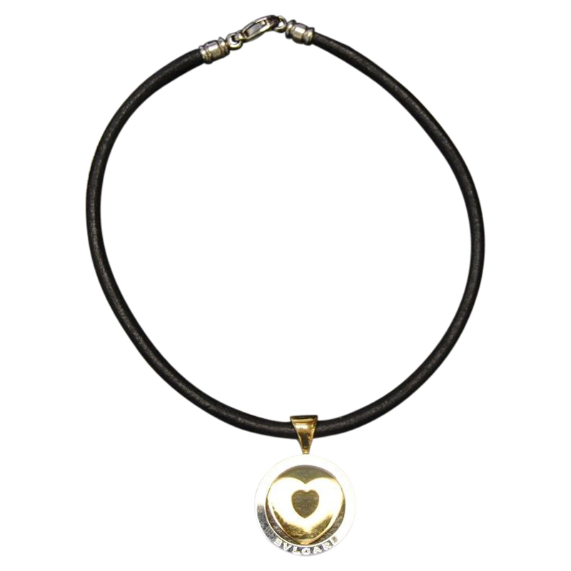 "Image of ""Bulgari Stainless Steel Heart Pendant Necklace"""