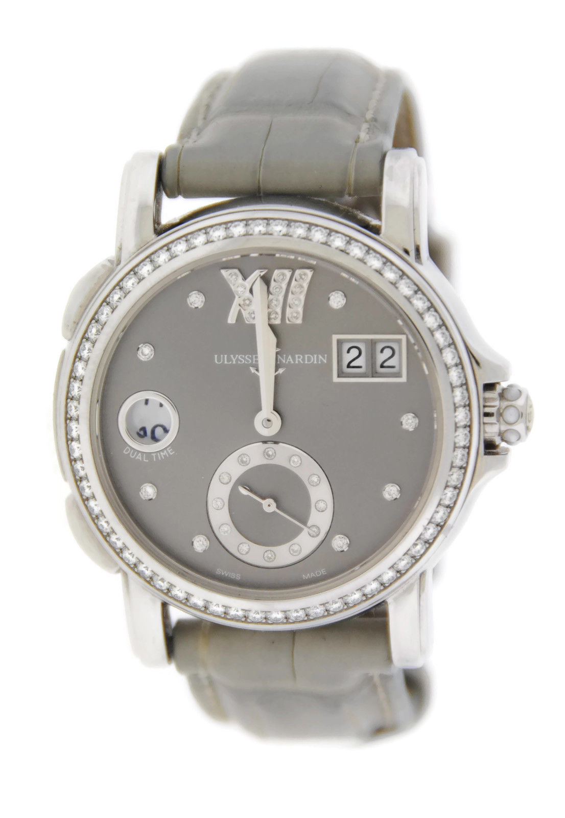 "Image of ""Ulysse Nardin 243-22 Big Date GMT Diamond Stainless Steel Watch"""
