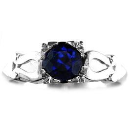 Omega 14K Yellow Gold 1.06ct Sapphire Art Deco Symbol Engagement Ring