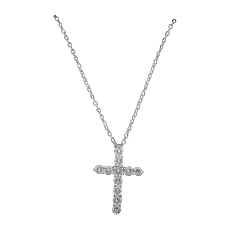 "Image of ""Tiffany & Co. Platinum Diamond Small Cross Pendant Necklace"""
