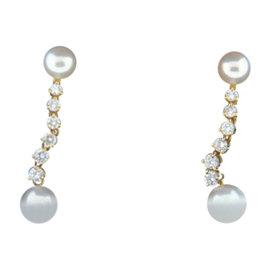 Tiffany & Co 18K Yellow Gold Diamond Pearl Earrings