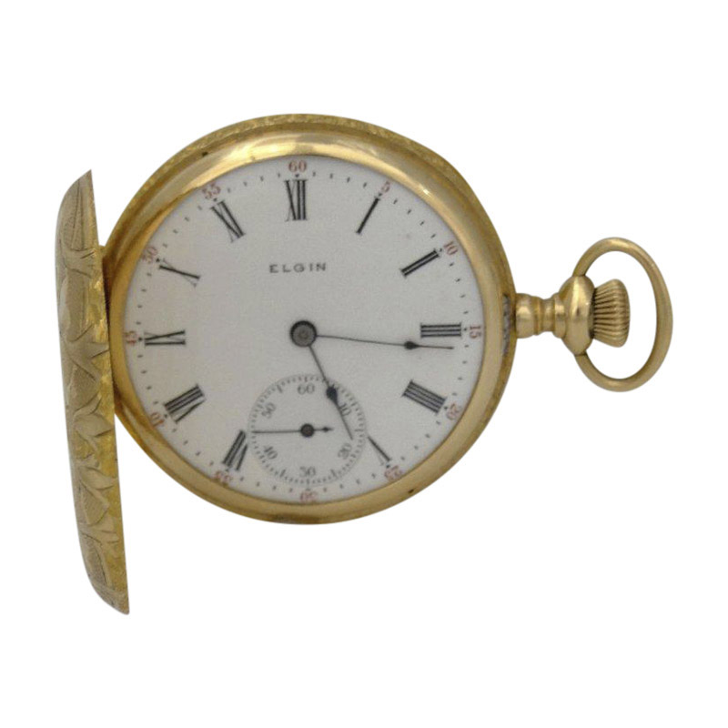 "Image of ""Elgin 14K Yellow Gold Mens Pocket Watch"""