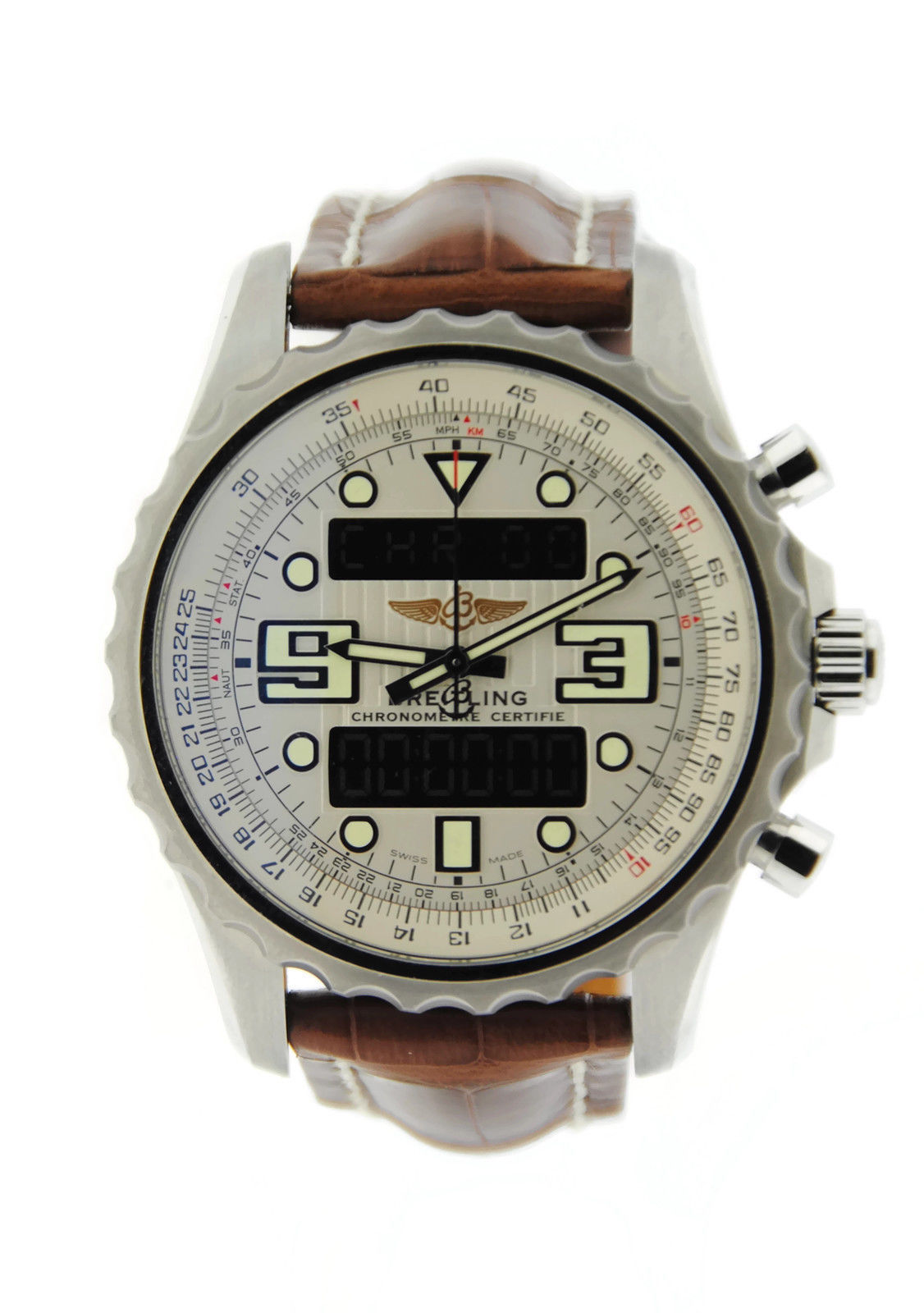 """Image of """"Breitling Chronospace A7836534 Stainless Steel & Leather Quartz 48mm"""""""