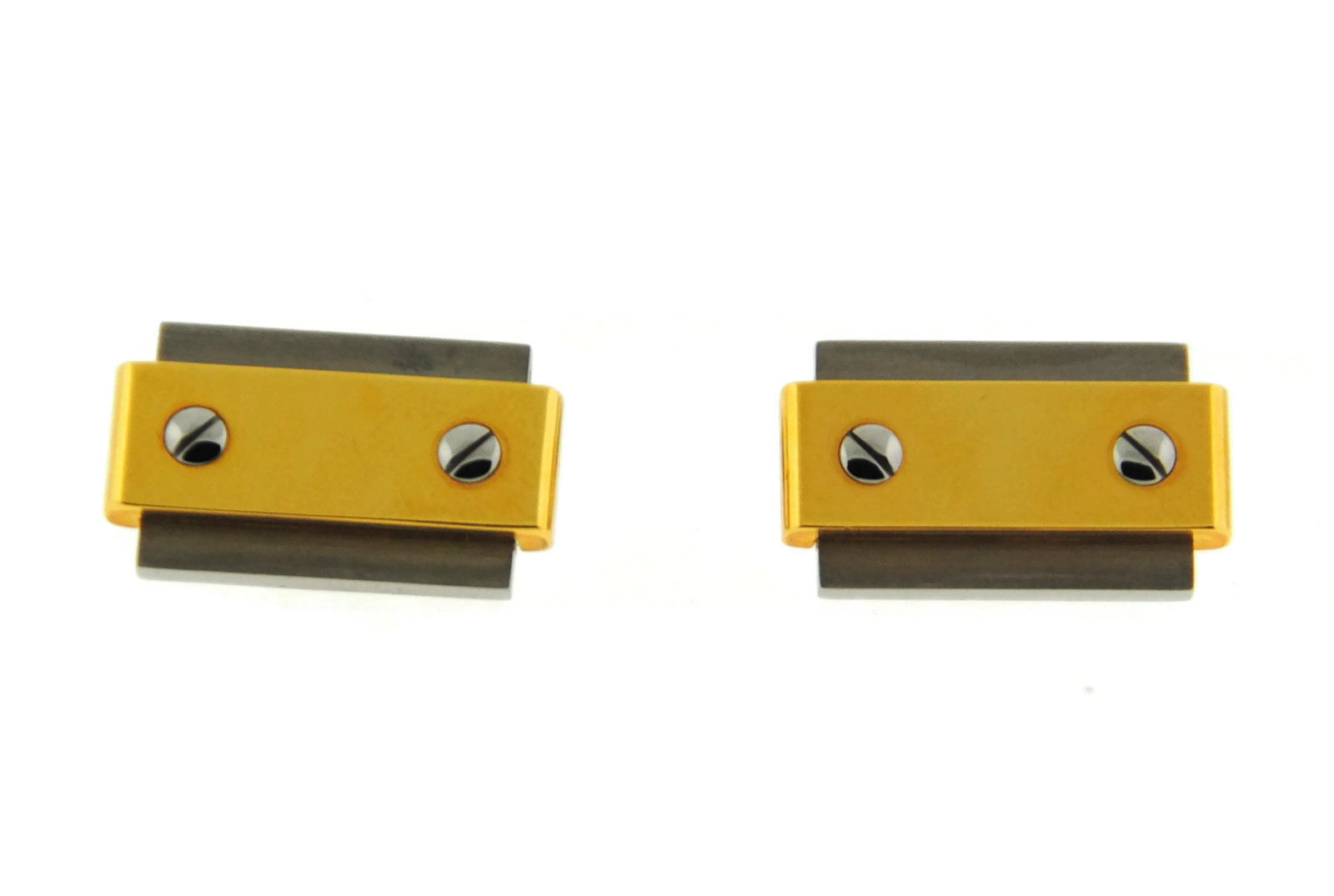"Image of ""Cartier Santos 18K Yellow Gold Stainless Steel Cufflinks"""
