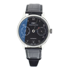 IWC Portuguese 7 Day Chronograph IW5001 Stainless Steel & Leather 42mm Mens Watch