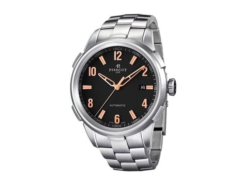 "Image of ""Perrelet Class-T A1068/c Stainless Steel Black Dial Automatic 42mm"""