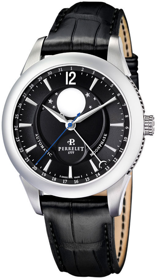 """Image of """"Perrelet Moonphase A1039/7 Stainless Steel & Leather Black Dial"""""""