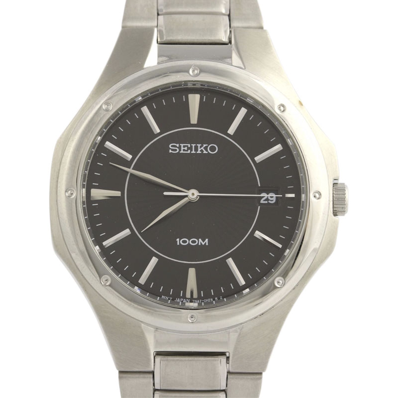 """Image of """"Seiko Sgef61 Stainless Steel Black Dial 38.8mm Mens Dress Watch"""""""