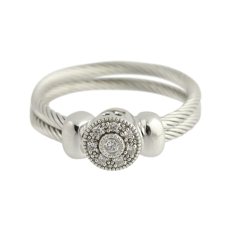 "Image of ""Charriol 18K White Gold & 0.08ct Diamond Ring Size 4.75"""