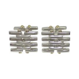 Tiffany & Co. 925 Sterling Silver 18K Yellow Gold Gate Link Cufflinks