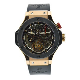Hublot Bigger Bang Tourbillon 308.PM.130.RX 18K Rose Gold & Rubber 44mm Mens Watch