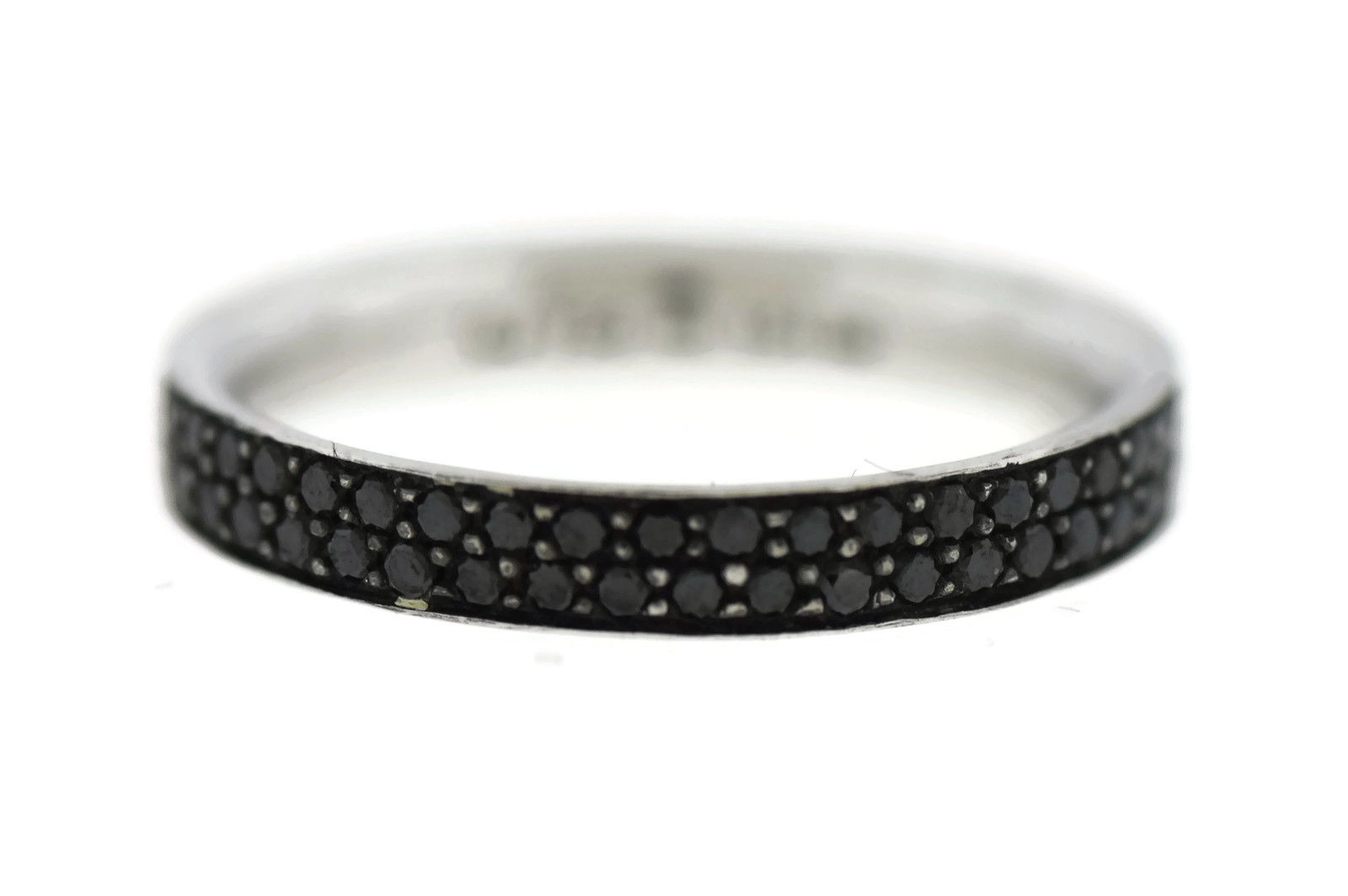 "Image of ""Georg Jensen 18K White Gold Magic Pave Black Diamond Ring Size 4.5"""