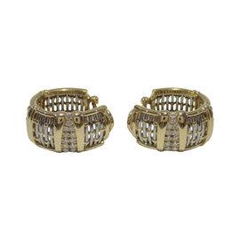 Cartier 18K Yellow Gold & Stainless Steel Diamond Hoop Earrings