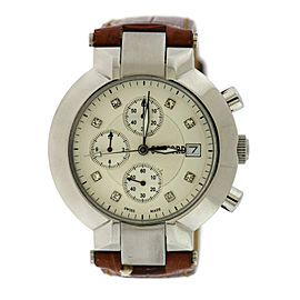Concord La Scala Stainless Steel & Leather White Dial wDiamond Quartz 39mm Womens Watch