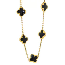 Van Cleef & Arpels 18K Yellow Gold Pure Alhambra Onyx 9 Motif Necklace