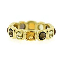 David Yurman 18K Yellow Gold 12 Gemstones Chiclet Ring Size 6.25