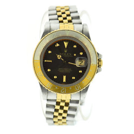 Rolex GMT-Master 16753 18K Gold / Stainless Steel with Brown Dial 40mm Mens Watch