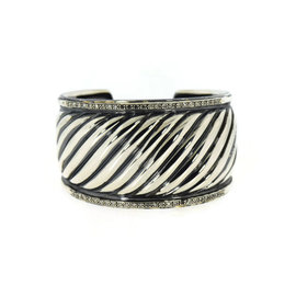 David Yurman 925 Sterling Silver Sculpted Cable Diamond Cuff Bracelet