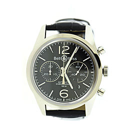 Bell & Ross BRG126-BL-ST/SCR Stainless Steel & Leather Black Dial Automatic 41mm Mens Watch