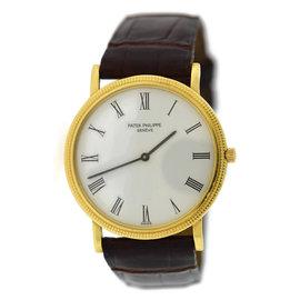 Patek Philippe Calatrava Hobnail 3520D 18K Yellow Gold & Leather Manual 32mm Unisex Watch