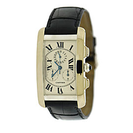 Cartier Tank Americaine 2312 18K White Gold & Leather Quartz 27mm Mens Watch