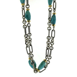 David Yurman 18K Yellow Gold 925 Sterling Silver Turquoise Necklace