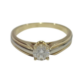 Cartier 18K Tri-color Gold 0.33ct Diamond Ring Size 4.75