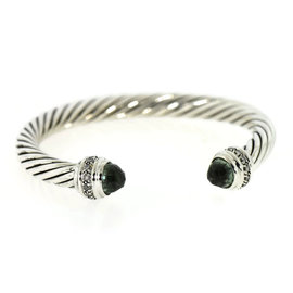 David Yurman 925 Sterling Silver with Diamond with Peridot Classic Cable Bracelet
