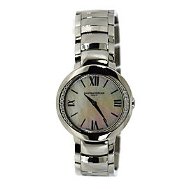 Baume & Mercier Promesse MOA10160 Stainless Steel Mother Of Pearl Dial wDiamond Quartz 30mm Womens Watch