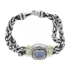 David Yurman Albion Sterling Silver & 14K Yellow Gold Blue Chalcedony Double Wheat Bracelet