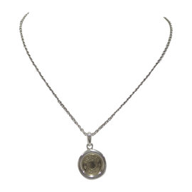 Hermes 925 Sterling Silver and 18k Yellow Gold Pendant Necklace