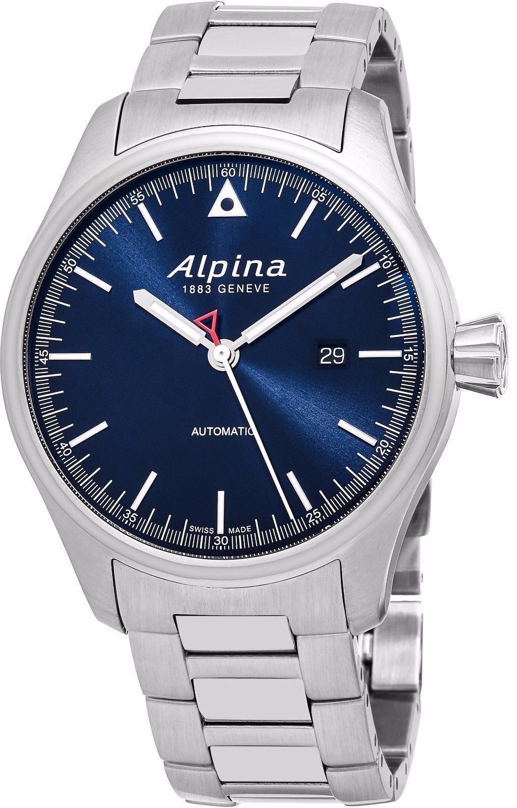 """Image of """"Alpina Startimer Al-525N4S6B Stainless Steel Blue Dial Automatic 45mm"""""""