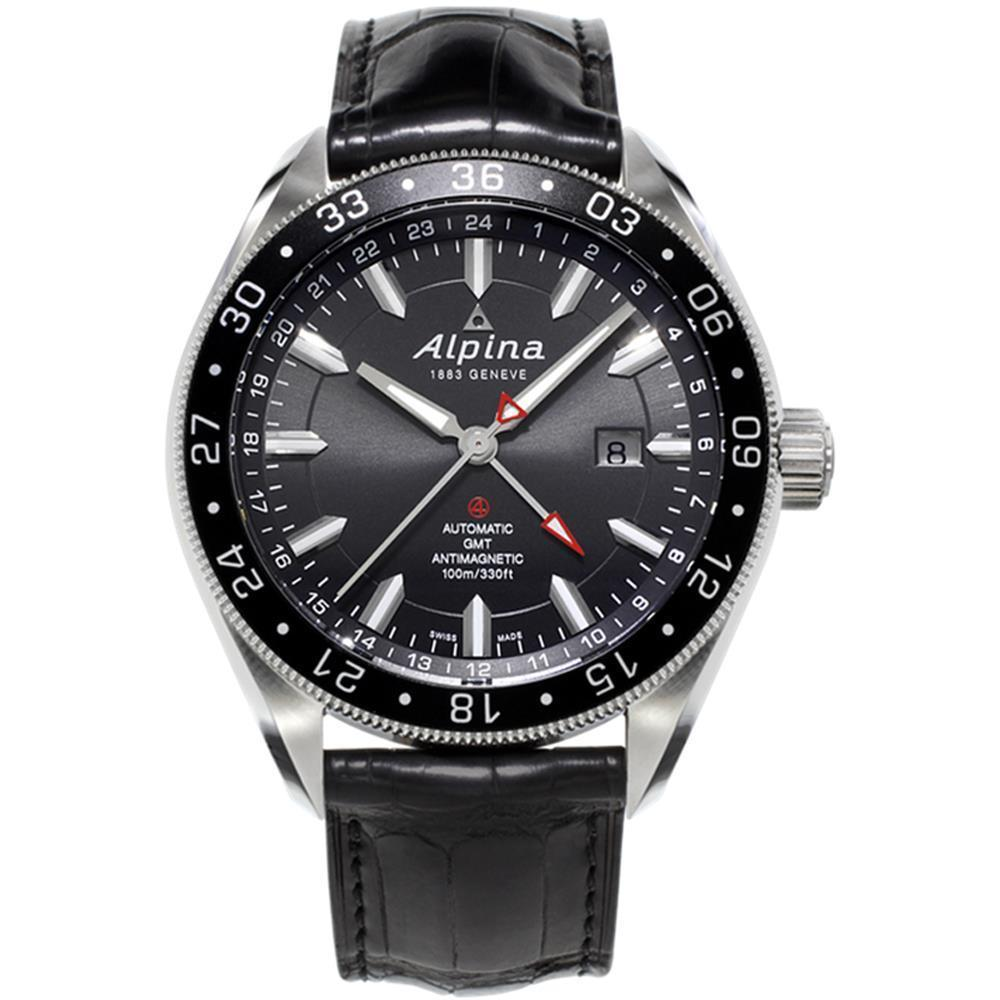 "Image of ""Alpina Al-550G5Aq6 Stainless Steel & Leather Automatic 44mm Mens Watch"""