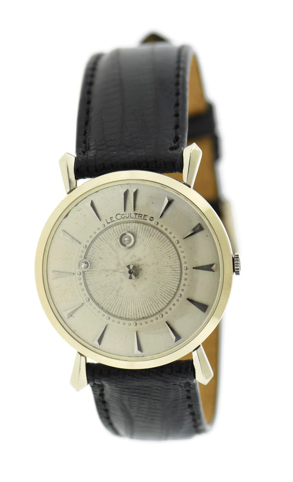 "Image of ""LeCoultre 14K White Gold & Leather Vintage 32mm Unisex Watch"""