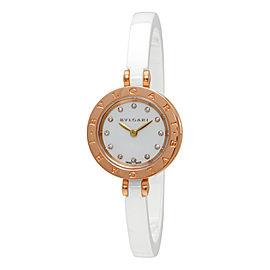 Bulgari B.Zero1 102088 18K Rose Gold/Ceramic White Diamond Dial Quartz 23mm Womens Watch